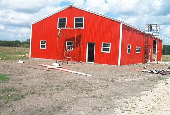 Steel Barn Building In Blessing, TX | MBMI Metal Buildings ...
