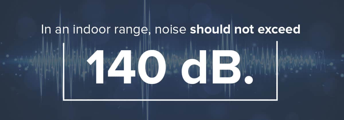 in an indoor shooting range noise should not exceed 140 db